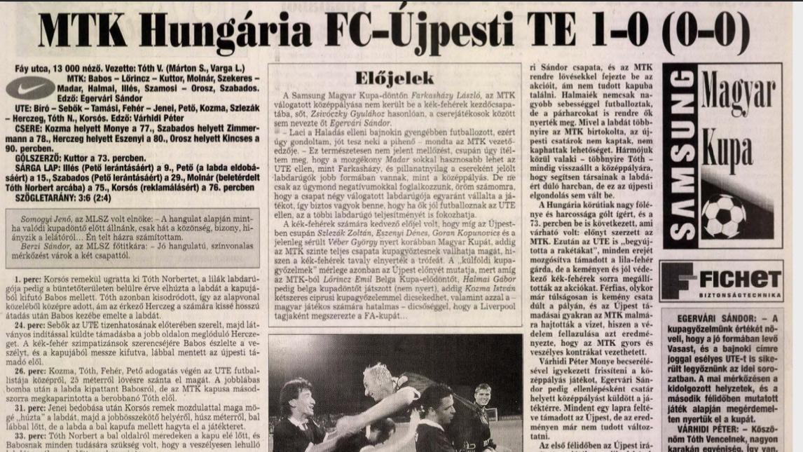 Ezen a napon nyertük meg tizenegyedszer a Magyar Kupát